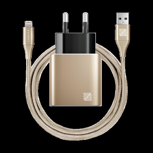 Сетевое зарядное устройство LENZZA Piazza Metallic Wall Charger. Два порта USB 5В, 2,1А. В комплекте: кевларовый кабель Lightning to USB Cable. Цвет золотой.