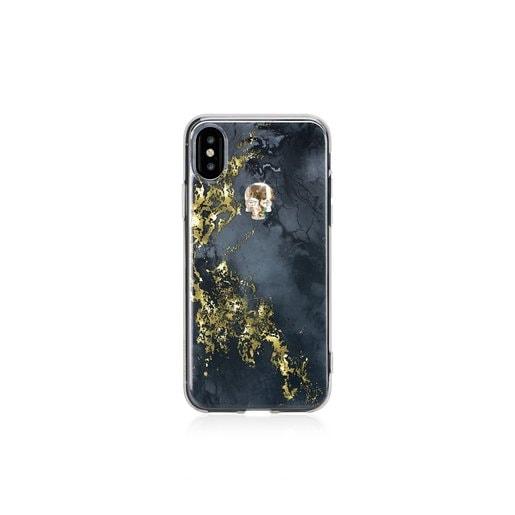 Чехол Bling My Thing для iPhone X, с кристаллами Swarovski. Коллекция Tresure Onyx. Дизайн Gold Skull. Материал пластик.