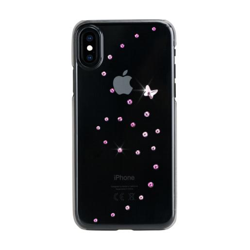 Чехол Bling My Thing для iPhone XS/X, с кристаллами Swarovski. Материал пластик. Коллекция Papillon. Дизайн Rose Sparkles. Цвет черный