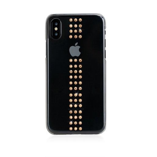 Чехол Bling My Thing для iPhone XS Max, с кристаллами Swarovski. Материал пластик. Коллекция Stripe. Дизайн Gold. Цвет прозрачный.