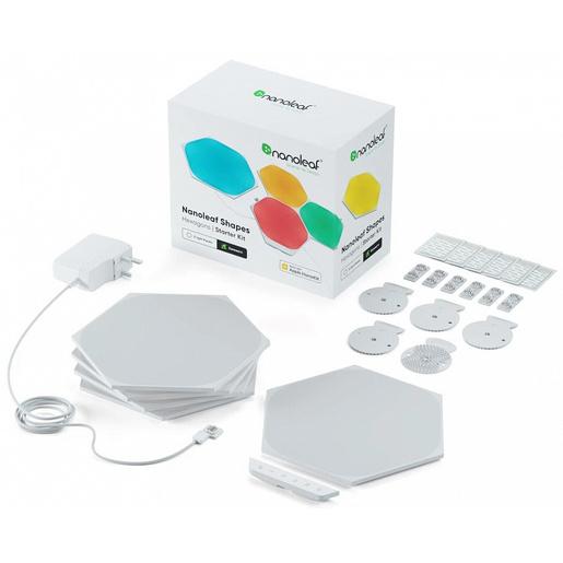 Светодиодный светильник Nanoleaf Shapes Hexagon Starter Kits. Состоит из 5 независимых светодиодных панелей.