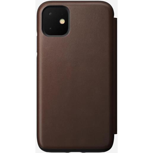 Чехол-книжка Nomad Rugged Leather Folio для iPhone 11 Pro. Материал кожа натуральная. Цвет светло-коричневый (Rustic Brown).