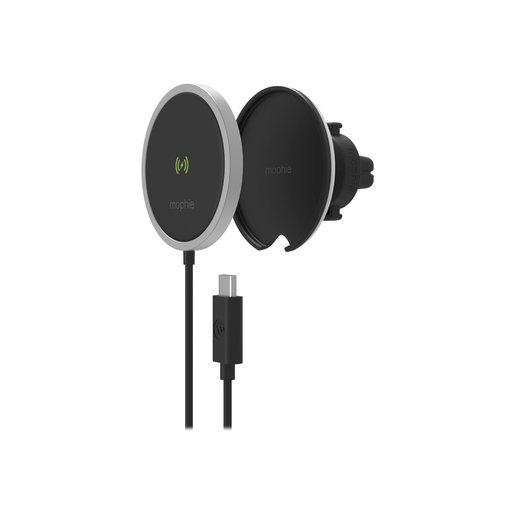 Беспроводное зарядное устройство Mophie Snap Plus Wireless Vent Mount. Цвет черный.  Mophie Snap Plus Wireless Vent Mount - Black