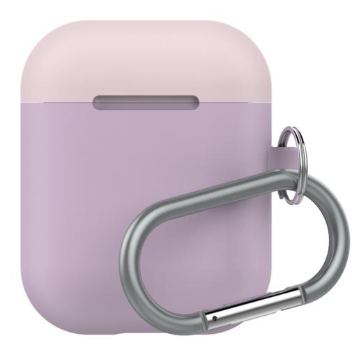 Чехол LAB.C AirPods Capsule 2in1 для зарядного устройства наушников Apple Airpods. Материал силикон. Цвет основной лиловый. Цвет крышек розовый, белый.