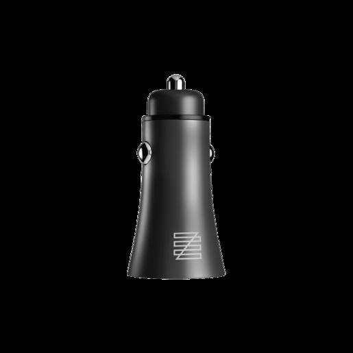 Автомобильное зарядное устройство LENZZA Razzo Metallic Car Charger. Два порта USB 5В, 2,1А. Цвет черный.