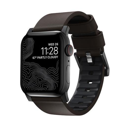 Ремешок Nomad Active Strap Pro для Apple Watch 44/42mm. Материал: внешняя сторона из натуральной кожи, внутренняя сторона из фторэластомера. Цвет ремешка: коричневый. Цвет застежки: черный.