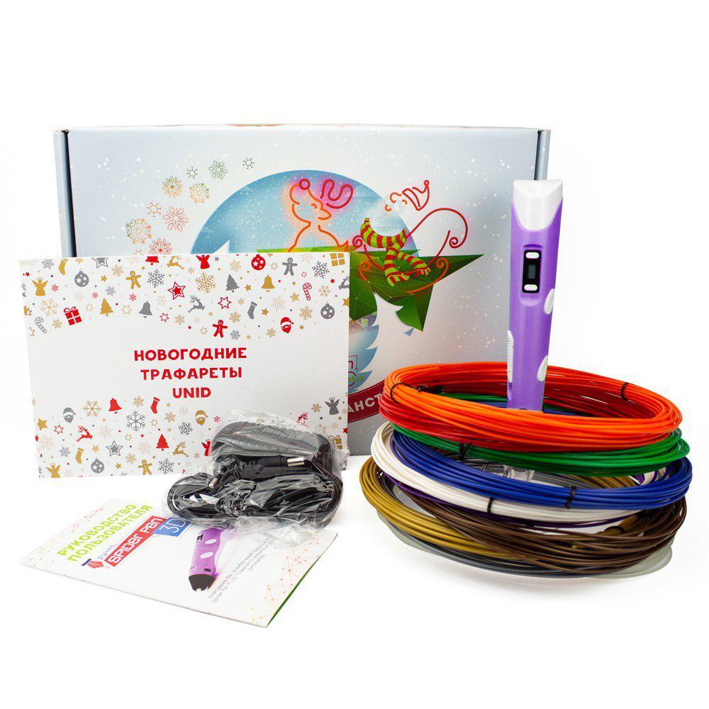 Новогодний набор 3D ручка SPIDER PEN PLUS + Пластик и книга трафаретов