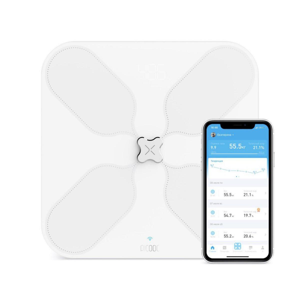 Умные весы Picooc S3 (Wi-Fi, Bluetooth, 33х33 см)