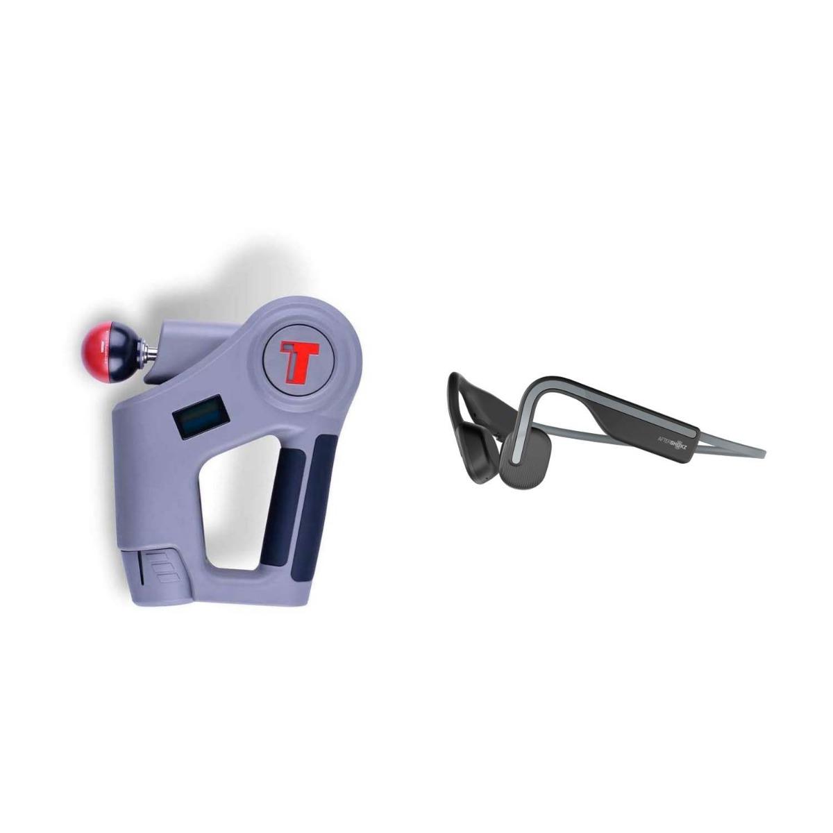 Комплект - Перкуссионный мышечный массажер TimTam Pro Power Massager + Aftershokz. Беспроводные наушники OpenMove, цвет Slate Grey
