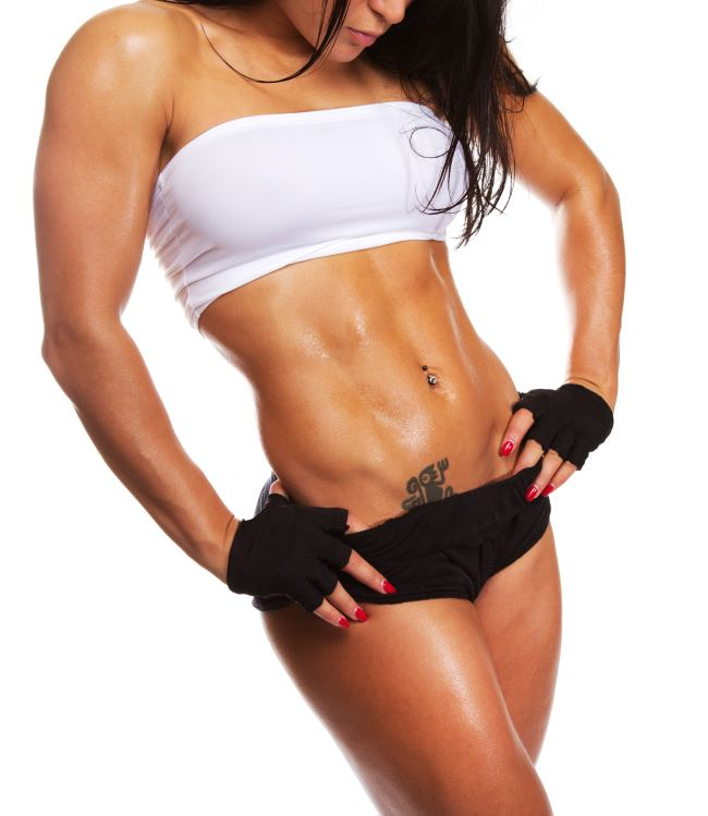 Image of muscle posing woman on competition